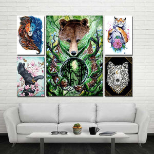 Old King by Scandy Girl HD Print 1 Piece Canvas Art Bear Tiger & Lion Abstract Wall Pictures