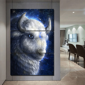 White Buffalo by KhaliaArt HD Print 3 Piece Canvas art Sheep Wall Pictures For Living Room Pictures Poster