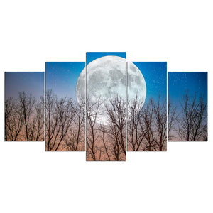 5 Panel Wall Art On Canvas Full Moon Night Modular Art Print Poster