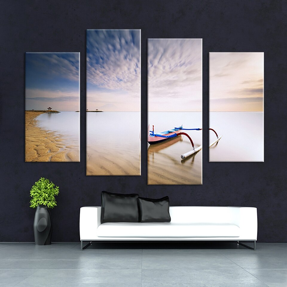 Canvas HD Print Painting Wall Art Modular 4 Piece Boat Beach Seascape Poster Modern Home Decor Living Room