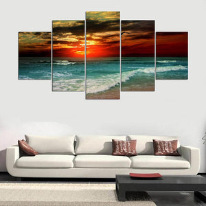 Modern Home Wall Art Picture 5 Pieces Sand Beach Sea Wave Sunset Glow Landscape HD Printed Painting On Canvas