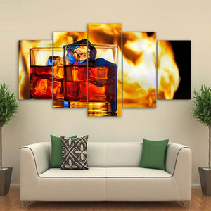 Canvas Wall Art Poster HD Printed 5 Pieces Ice Beverage Wine Pictures Modular Bar Dinning Painting