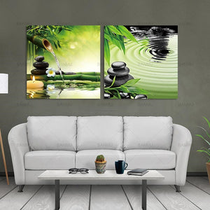 Wall Painting Modern 2 Panel Zen Canvas Prints Perfect Bamboo Green Pictures on Canvas Art Home