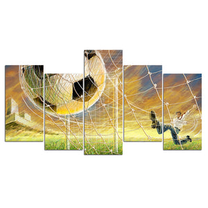HD Print 5 Piece Canvas Art Football Kit Into Net Large Canvas Wall Art Painting-Poster