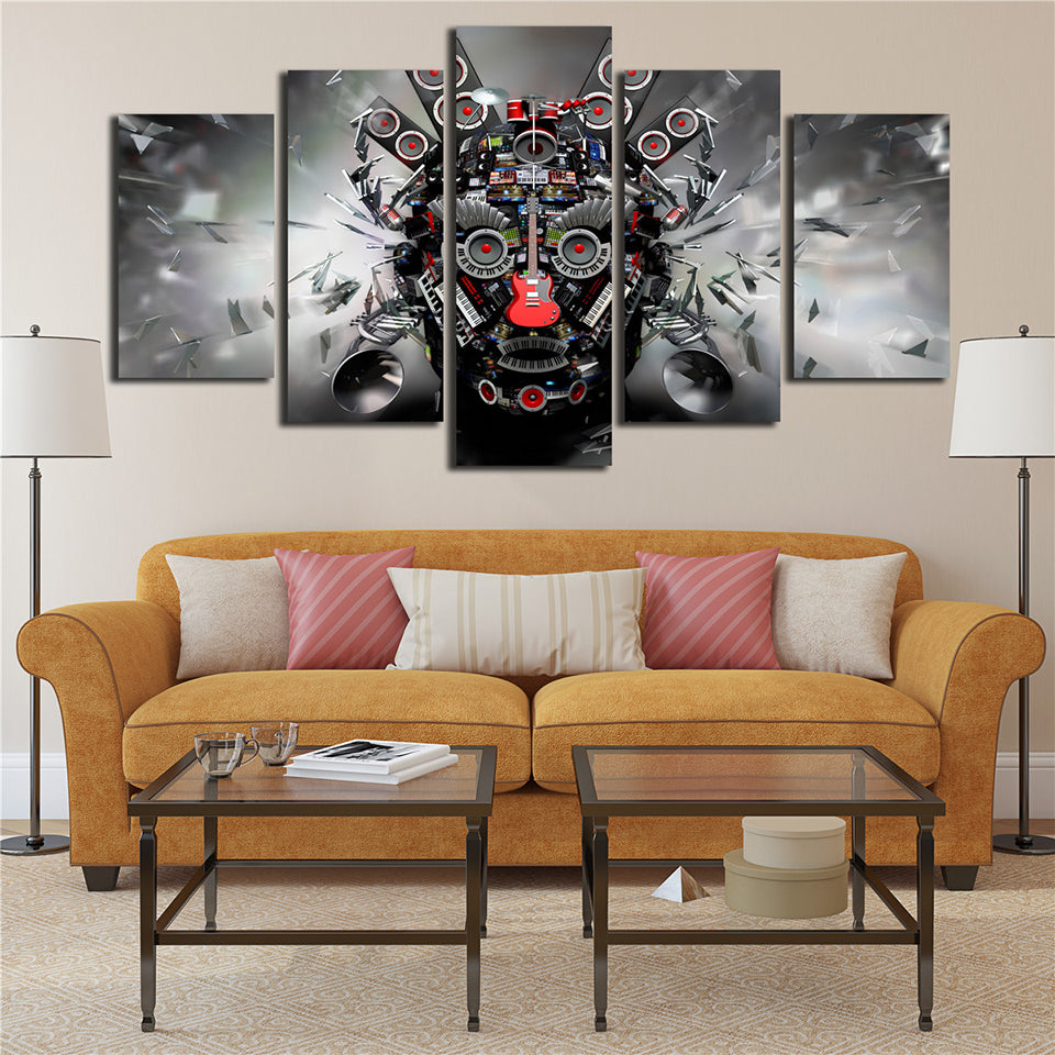 Canvas Printed Poster Rock Music Instruments Dj Console Guitar Art 5 Panel Wall Painting Pop Art Pictures Modular