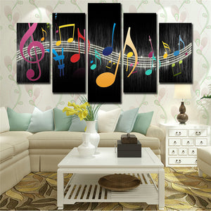 Wall Picture On Canvas Modular Painting 5 Panel Musical Notes Nordic Posters Modern Art Printed