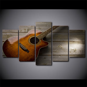 Canvas Modern HD Wall Art 5 Panel Musical Instruments Guitar Printed Pictures Painting