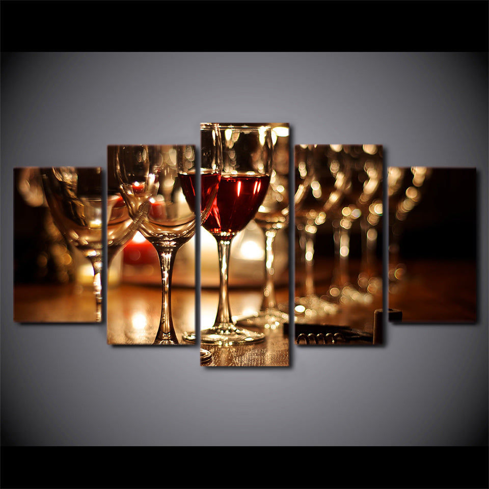 Modular Painting Canvas Wall Art Pictures 5 Pieces Red Wine Glass Modern HD Print