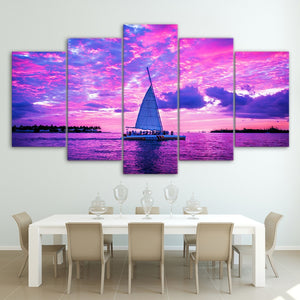 HD Printed 5 Piece Canvas Art Boats on Pink Ocean Painting Wall Pictures Living Room