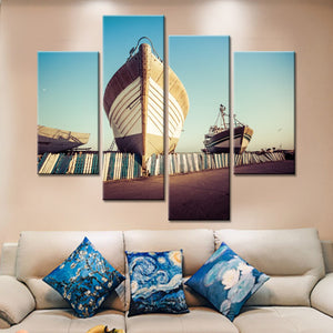 Canvas Wall Art Beach Boat Canvas Painting Home Decor Modular Painting The Wall Print 4 Pieces