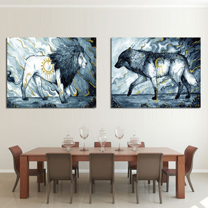 Daybringer Nightbringer by Scandy Girl HD Print 1 Piece Canvas Art Lion and Wolf Abstract Wall Posters