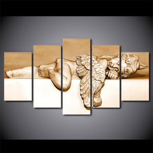 5 Panel Canvas Wall Art Sleeping Angel Painting Wall Pictures Posters Home Decoration Prints