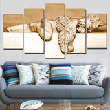 5 Panel Canvas Wall Art Sleeping Angel Painting Pictures For Living Room Posters Home