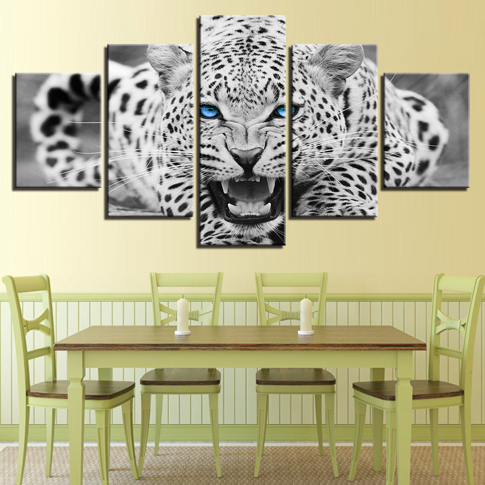 Wall Art Canvas Painting Abstract 5 Pieces Blue Eyes White Leopards ...