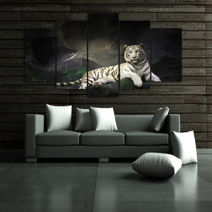 HD Modern Canvas Painting Wall Art 5 Panel Animal White Tiger Poster Pictures Modular Cuadros
