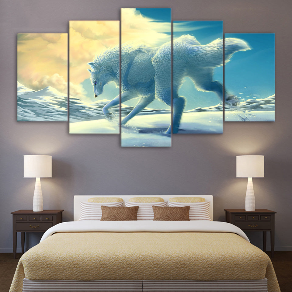 Canvas Poster Wall Art 5 Panel Animals Snow Wolf HD Print Painting ...
