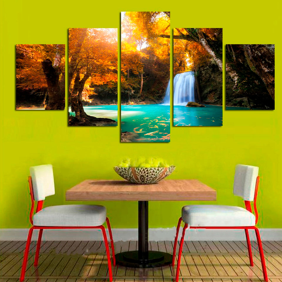 Modular Canvas HD Printed Painting 5 Pieces Waterfall Golden Yellow ...