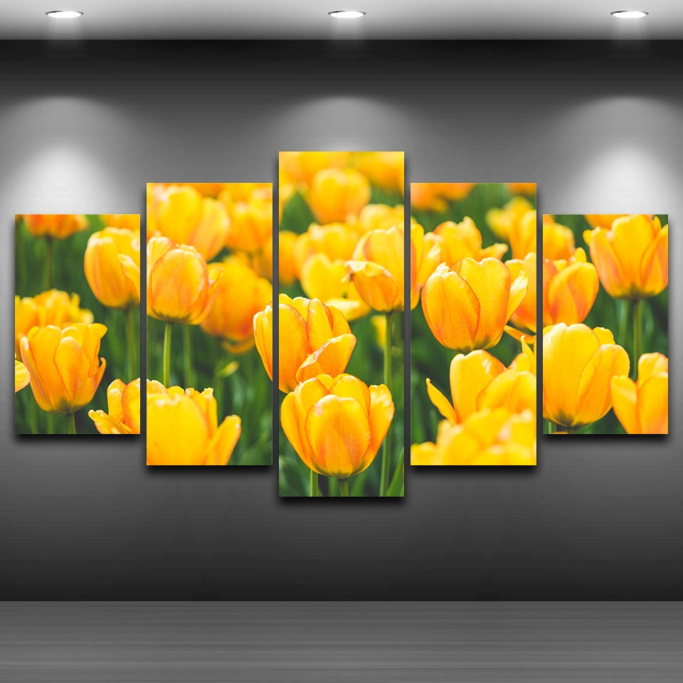Canvas Wall Art Pictures Living Room 5 Pieces Yellow Tulips Painting ...
