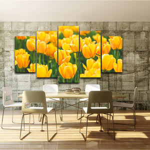 Canvas Wall Art Pictures Living Room 5 Pieces Yellow Tulips Painting Modular HD Printed Flowers
