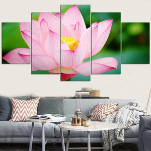 Wall Art Pictures HD Printed 5 Panel Pale Pink Lotus Modern Painting On Canvas Living Room