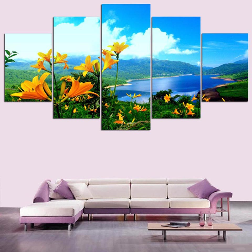 Hd Printed Wall Art Pictures Painting 5 Panel Wild Flowers And Nature Scenery Modern Decoration
