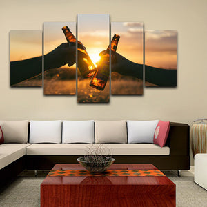 Modular Canvas Painting Living Room HD Printed 5 Pieces Beers Sunset Landscape Pictures Wall Art