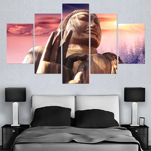 Pictures Living Room 5 Panel Buddha Landscape HD Printed Modern Canvas Painting Wall Art Modular