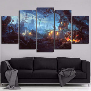 HD Printed Wall Art Pictures Painting 5 Panel Pumpkin Castle On Halloween Day Modern Home Decoration