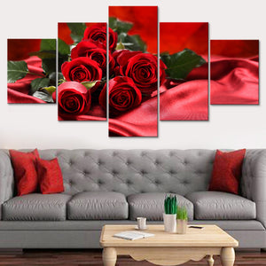 Painting Modern Art Print Live Wall 5 Pieces Red Rose Photo Canvas Tableau HD Decoration Modular Picture