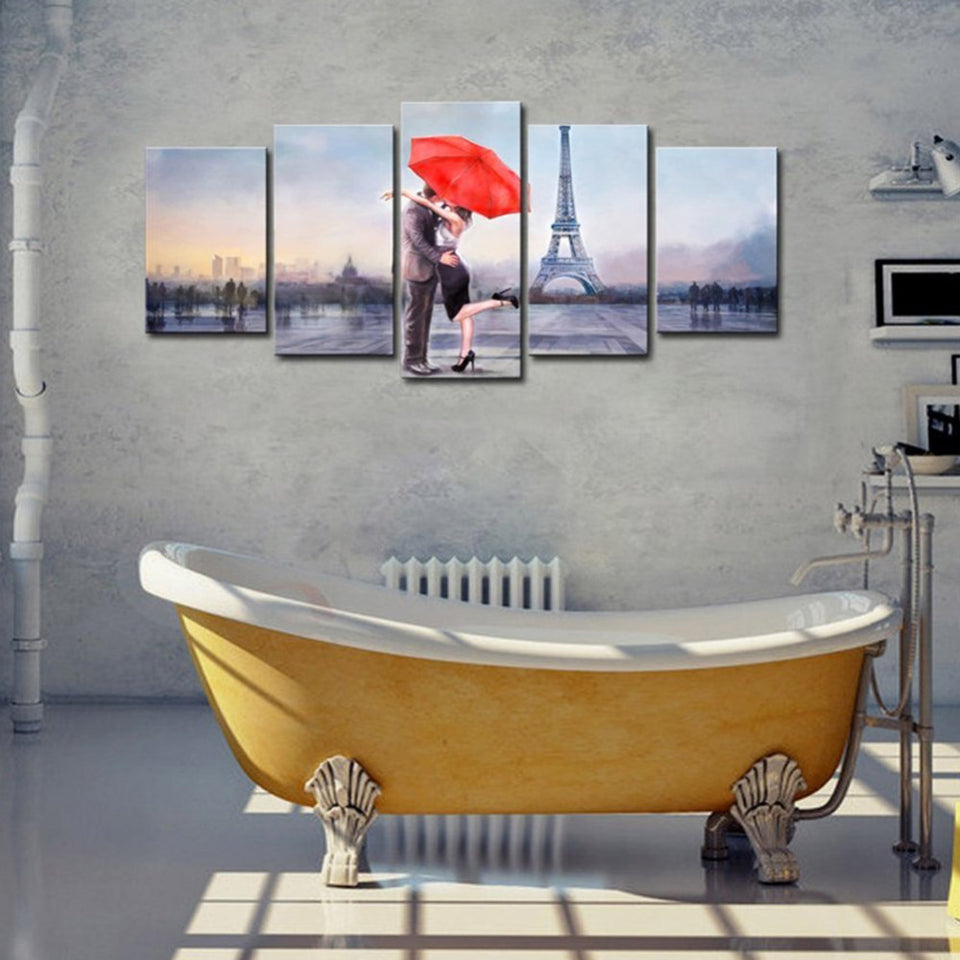 Wall Art Painting 5 Pieces Lovers In Paris HD Print Canvas Modular Picture For Living Room Decoration