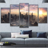Canvas Prints Paintings 5 Pieces Chicago Sky View Poster Wall Art City Sunrise Landscape Pictures
