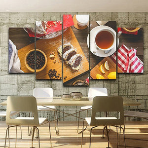 Art Poster Printed Paintings 5 Pieces Coffee Canvas Style Wall HD Pictures Modern Decoration