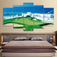 HD Prints Canvas Painting Wall Art 5 Pieces Golf Courses Pictures Modular Seascape Poster