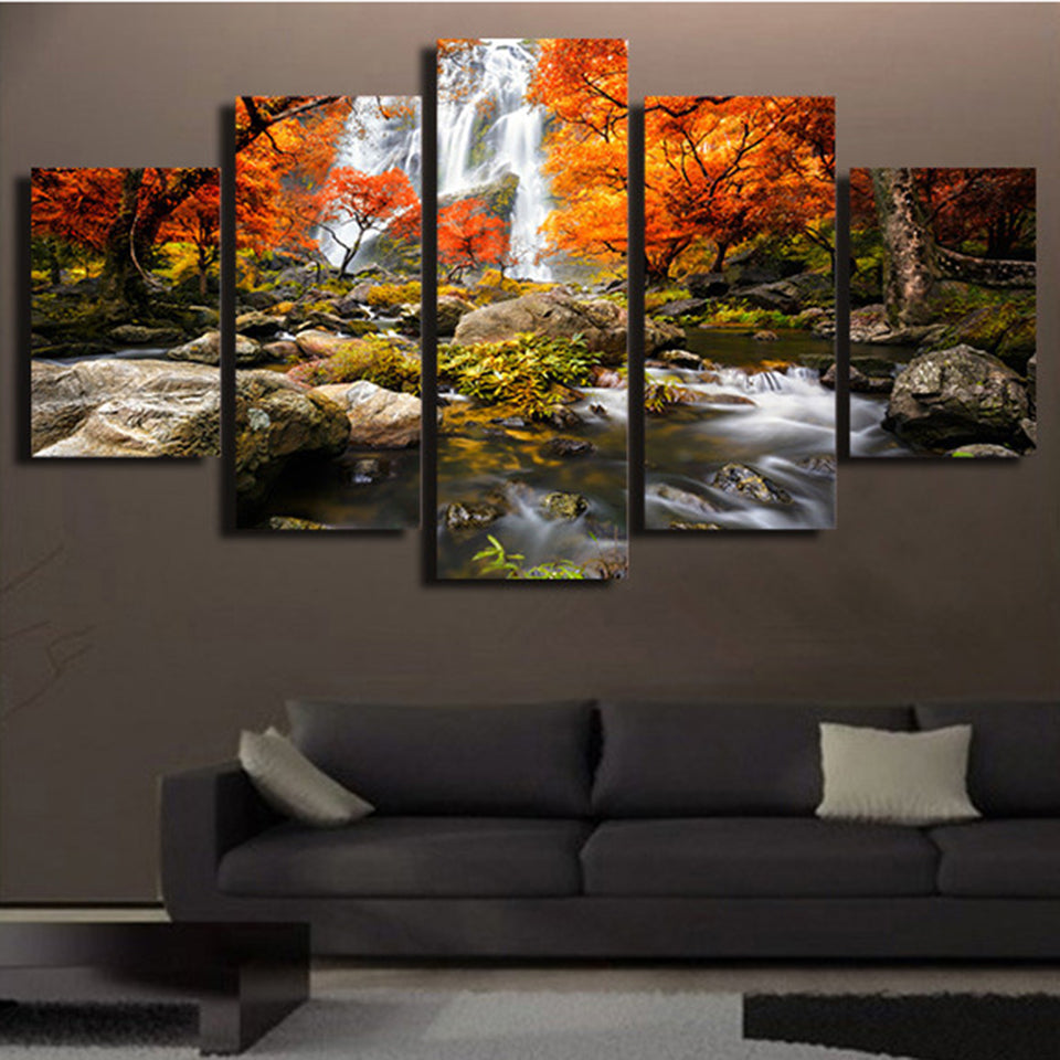 Canvas HD Prints  Modular Wall Art Pictures 5 Pieces Autumn Nature Forest Landscape Painting