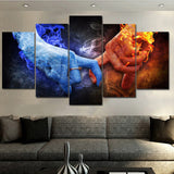 Modular Canvas Painting HD Prints Romantic Poster 5 Pieces Fire And Ice Love Pictures Wall Art