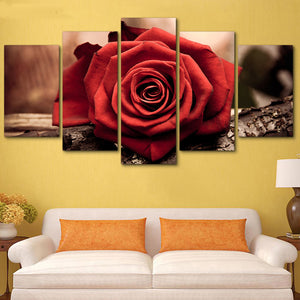 Modular Canvas Pictures HD Printed Wall Art 5 Panels Red Rose Flower Painting Living Room Modern