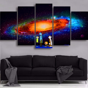 HD Printed Canvas Modular Wall Art 5 Panels Galaxy Scenery Painting Living Room Rick And Picture