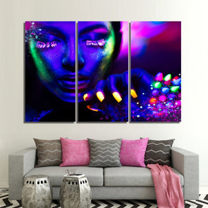 Canvas Prints Canvas Neon Color Nails Psychedelic Picture Makeup Sexy Girl Decorative Pictures 3 Piece