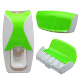 Set Automatic Lazy Toothpaste Dispenser 5 Toothbrush Holder Wall Mount