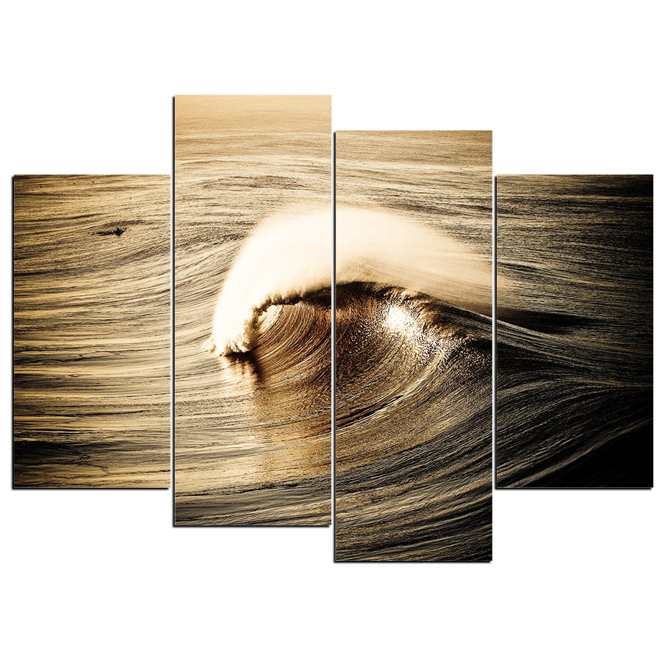 4 Piece Painting Print Sea Waves Eye Canvas Painting Living Room Wall Art Modular Picture