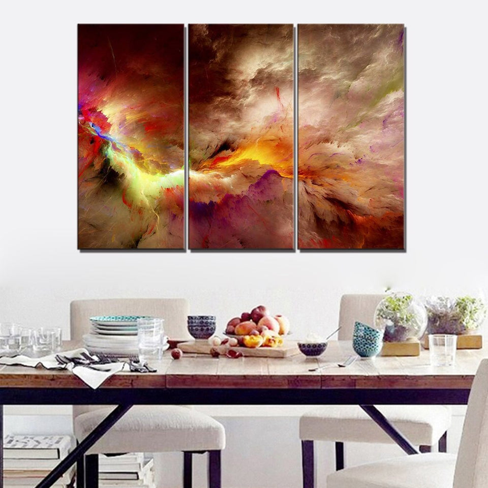 Color Abstract Wall Art Canvas Painting Living Room Abstract Psychedelic Art Space Cloud Landscape Art 3 Pieces