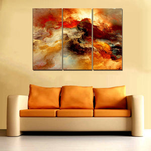 Red Dusk Abstract Canvas Wall Art 3 Pieces Landscape Psychedelic Art Space Cloud Poster Art Print Canvas Painting