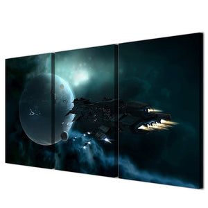 Canvas Art HD Printed Modular 3 Piece Star Space Earth Spaceship Oil Painting Wall Picture Room Wall Poster