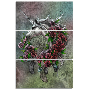 Unicorn Dreamcatcher Bedsheet Color by Sunima-MysteryArt HD Print 3 Piece Canvas For Living Room Pictures