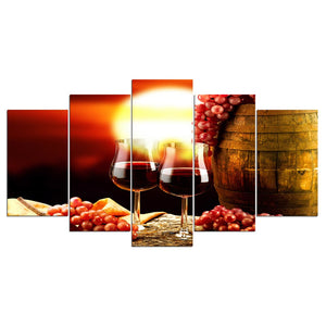 5 Panel Canvas Art Print Wall Art Wine Purple Drink Paintings Living Room Vintage Wall Poster