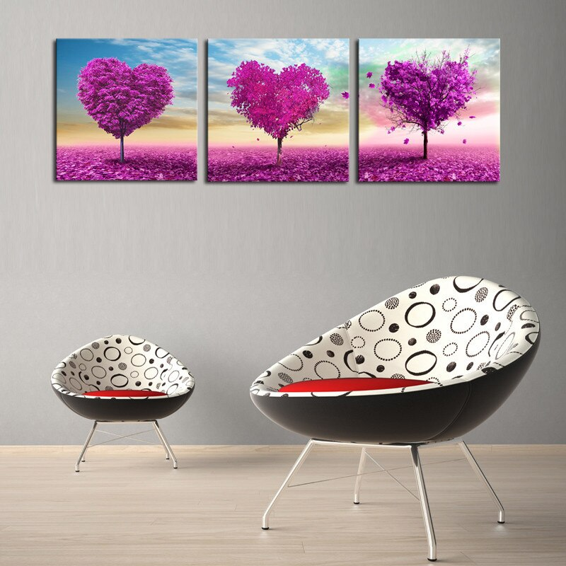 Spray Painting Square Hot Sale 3 Pieces Modern Love Tree Canvas Painting Wall Decor