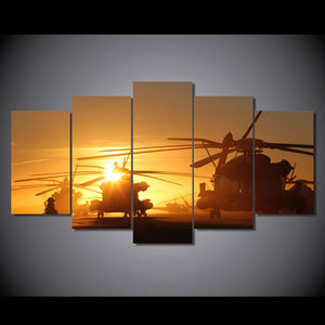 HD Printed Apache Helicopters Painting 5 Piece Canvas Art Print Room Decor Poster Picture