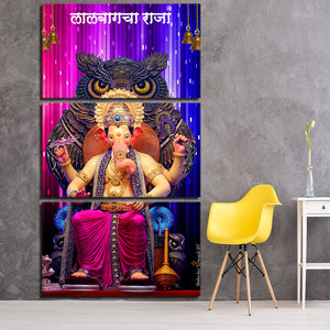 HD Printed 3 Piece Canvas Hindu God Ganesha Elephant Modular Picture Printed Canvas Prints For Decoration