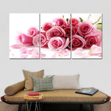 HD Printed 3 Piece Canvas Pink Roses For Romantic Love Modular Picture Printed Canvas Prints
