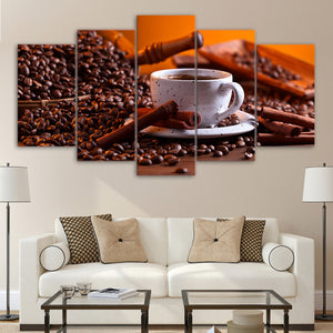 5 Panel Canvas Art Print Wall Art Coffee Beans Drink Paintings Living Room Vintage Wall Poster